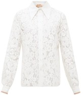 No.21 No. 21 - Exaggerated Point Collar Floral-lace Shirt - Womens - Cream