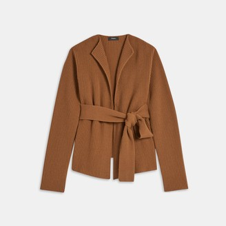 Theory Belted Sweater Jacket in Felted Wool-Cashmere