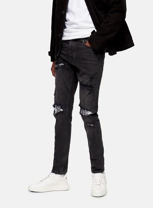 Topman Washed Black Bandana Rip Repair Stretch Skinny Jeans