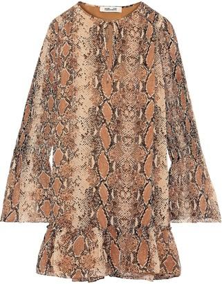 Diane von Furstenberg Skye Shirred Snake-print Silk-georgette Mini Dress
