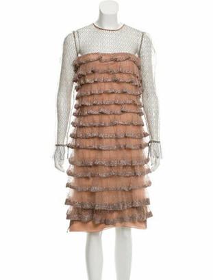 Valentino Embellished Knee-Length Dress Mauve