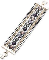 DKNY Tri-Tone & Black Rubber Multi-Stone Multi-Row Bracelet, Created for Macy's