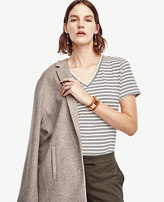 Ann Taylor Petite Striped Cotton V-Neck Tee
