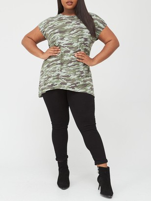V By Very Curve Printed Longline T-Shirt - Camouflage
