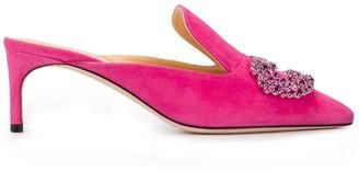 Giannico Crystal-Embellished Mules