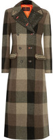 Etro Embellished Jacquard-trimmed Plaid Wool Coat - Army green