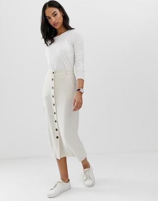 Asos Design DESIGN gutsy linen column midi skirt with button through-Cream