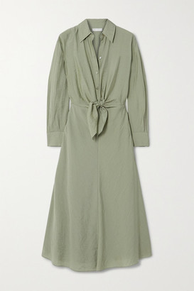 Vince Tie-detailed Twill Shirt Dress - Green