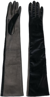Manokhi Contrast Panel Long Gloves