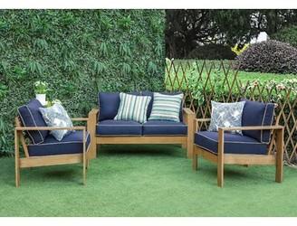 Amaya Longshore Tides 3 Piece Sofa Seating Group with Cushions Longshore Tides Cushion Color: Blue