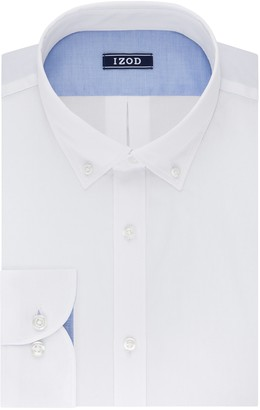 Izod Men's Slim Fit Solid Button Down Collar Dress Shirt