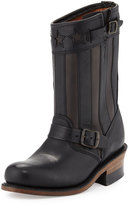 Frye Engineer Americana Star Cutout Leather Boot, Black