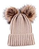 Baby Winter Warm Hat Cute Fashion Knitted Wool Hemming Double Pom Hat Beanie (Beige)