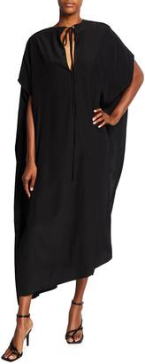 Victoria Beckham Elbow-Sleeve Silk Caftan Dress w/ Side Slits