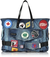 DSQUARED2 Blue Washed Denim Oversized Tote w/Patches