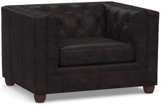 Pottery Barn Chesterfield Square Arm Leather Armchair