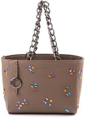 Suzy Levian Pebbled Faux Leather Rhinestone Satchel Handbag