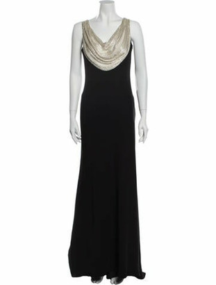 Carmen Marc Valvo Cowl Neck Long Dress Black