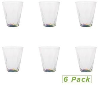 Mind Reader 11 Oz Rainbow Tumbler, Acrylic Drinking Glass, Modern Tumbler Shatter-Resistant Plastic Tumbler, Kitchenware, Drinkware- Pack of 6