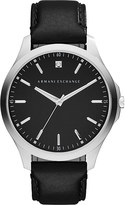 Armani Exchange Diamond marker leather strap watch