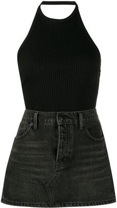 Alexander Wang Halterneck Denim Mini-Skirt Dress