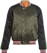 Gucci Spaceship-appliqué quilted satin bomber jacket