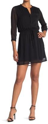 Dr2 By Daniel Rainn Spilt Neck 3/4 Length Sleeve Dress