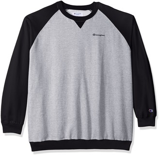 Champion Men's Big and Tall Fleece Ls Crew Raglan W/Contrast Sleeves