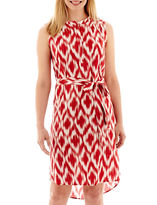 Liz Claiborne Sleeveless Print Belted Dress - Petite