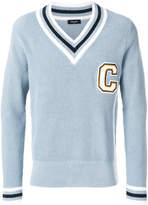 Calvin Klein bordered varsity jacket