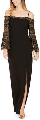 Adrianna Papell Embellished-Sleeve Cold-Shoulder Gown
