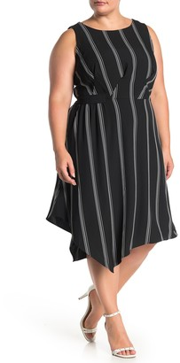 Rachel Roy Rina Stripe Asymmetrical Hem Dress (Plus Size)