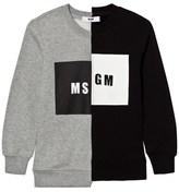 MSGM Grey and Black Split Logo Sweatshirt