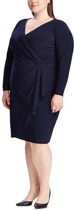 Chaps Plus Size Long Sleeve V Neck Dress