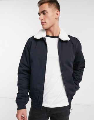 French Connection padded harrington jacket with borg collar-Navy
