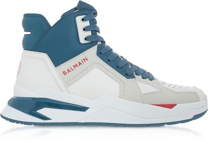 Balmain White & Blue High Top Men's B-Ball Sneakers