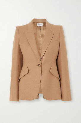 Alexander McQueen Ruffled Wool Blazer - Beige
