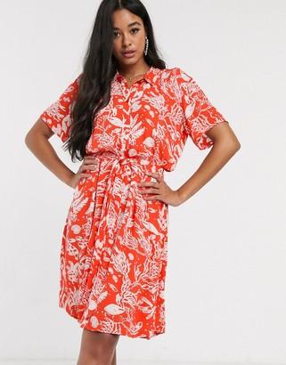 Fabienne Chapot boyfriend coral print mini dress in coral