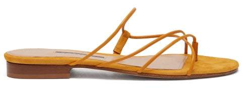 Emme Parsons Chris Leather And Suede Sandals - Womens - Yellow