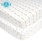 American Baby Company 2 Piece Printed Jersey Knit Fitted Crib Sheet, Taupe