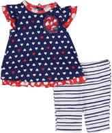 Baby Essentials Navy Heart Dress & Capri Leggings Set - Infant