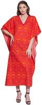 KOKOM Ladies Beach Cover Up Kaftan Long Cotton Printed Kaftan Dress Nightgown Maxi