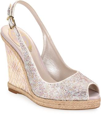 Rene Caovilla Beaded Espadrille Wedge Sandals