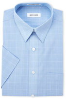 Pierre Cardin Blue Plaid Short Sleeve Dress Shirt
