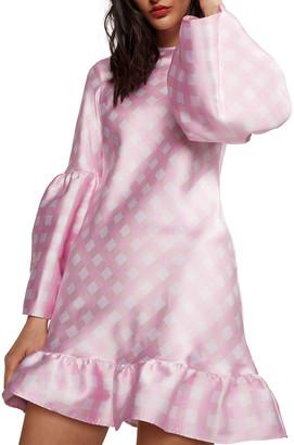 Cynthia Rowley Jane Gingham Bell-Sleeve Short Ruffle Dress
