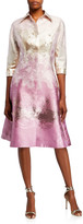 Rickie Freeman For Teri Jon Metallic Jacquard Shirtdress