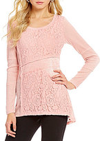 Westbound Ribbed Long Sleeve Lace Patch Top