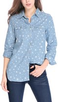 Allegra K Women Long Sleeves Button Closure Stars Tunic Denim Shirt
