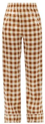 Ganni High-rise Gingham Silk-blend Satin Trousers - Brown Multi