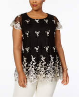 Charter Club Plus Size Lace Mesh Tunic, Created for Macy's
